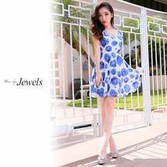 S ドレスワンピース Jewels ブルーローズ柄 フレア 新品 J16187
