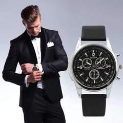 腕時計 メンズ クォーツ腕時計 高品質 ゴムベルト ブラック
