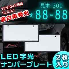 12V/24V兼用 激白美発光 LED 字光 ナンバープレート2枚