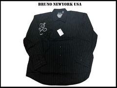 ビッグサイズシャツ【黒色-4XLB】 Bruno Newyork  4XB