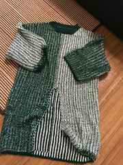 ★新品★良い品ざっくり袖七分前スリット入りロングセーターF