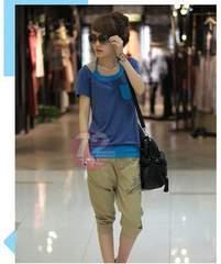 728-908018大きいサイズ☆重ね着風Tシャツ☆LL/ブルー