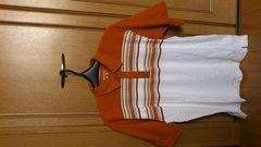訳あり激安86%オフアウトドア、コロンビア、ポロシャツ(美品、橙×白、L)