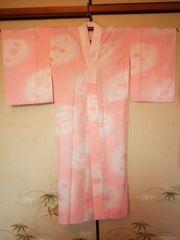 サーモンピンク華柄*長襦袢化繊単衣美品レタパR