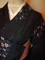 黒桜■市松*袷小紋化繊166裄長新同レタP