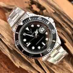 最安値ロレックス・サブマリーナタイプ◇クォーツ メタル腕時計ブラック