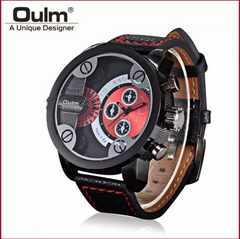 新作oulm正規腕時計◆BIGブラックベルトディアルフェイス◆DIESEL系◆