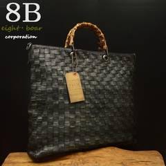 ◆牛本革 バンブーハンドル イントレチャートトートバッグ◆黒B8