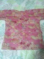 ☆処分品ピンク×牡丹花車短冊和柄ダボシャツ120