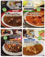 名店カレー 4種*欧風ビーフカレー、湘南ドライカレー、バターチキンカレー、骨付きチキンカレー