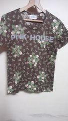 ピンクハウス Tシャツ 焦げ茶にグローバのブーケ