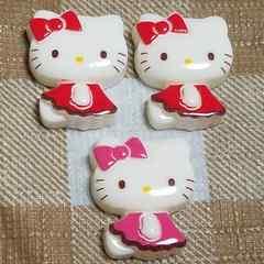 Z ☆ 計3コ ☆(赤・ピンク)お座り横向き キティ☆ 約2.1cm
