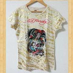Ed Hardy エドハーディー Tシャツ S レディース 美品 ラインストーン スワロフスキー