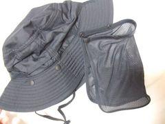 無印サファリハット日よけ付きポリエステル新品メッシュ帽子黒
