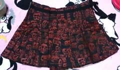 エイチナオトアナーキーh.ANARCHY赤ドクロプリントプリーツミニ巻スカート