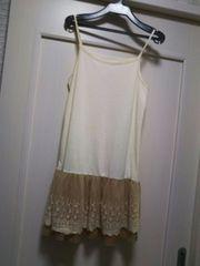 M-L フリーsizeカットソー切り替えスカート付きスリップインナー