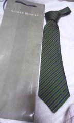 ダンヒル ネクタイ  紺 緑 斜め細ストライプ