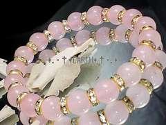 天然石★8ミリ紅水晶ローズクォーツAA金ロンデル数珠