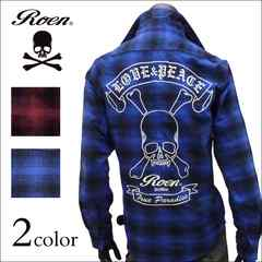 Roen(ロエン) スカル刺繍チェックネルシャツ ブルー M[63rn01]