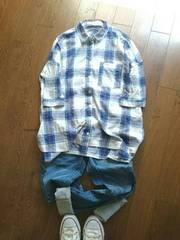 B.L.U.E チエックビッグシャツ M 七分袖