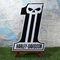 新品【ブリキ看板】ハーレーダビッドソン Number One Skull