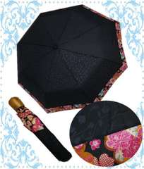 着物&洋服に 晴雨兼用和柄折り畳み日傘黒地桜古典花(8本骨)