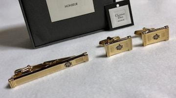 正規美 ディオールDior CDRロゴネクタイピン カフスSET ゴールド タイピン カフス ボタン