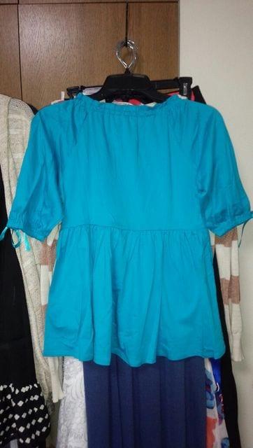 ブルー水色5分袖カットソーAライン綿100%国産M7〜9号 < 女性ファッションの