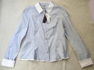 新品 韓国 2me ブルー デザイン ブラウス 91-101-165 Lサイズ