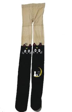 新品[7794]【黒】セーラームーン ストッキング ルナ 猫