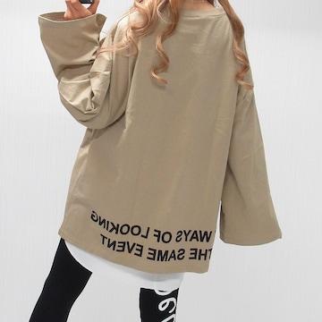 NEW最新Back裾BIGロゴ/オーバーシルエット/ロンT綿100%bg8621