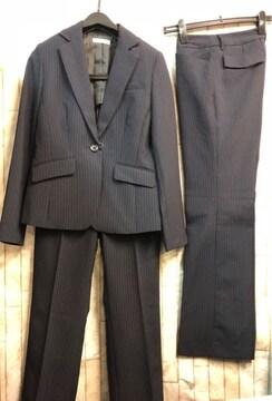 新品☆9号♪紺×ストライプ系2パンツスーツセット♪洗える☆b784