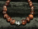 極オラオラ系 銀彫龍ブラックオニキス レッドタイガーアイ ネックレス 開運数珠