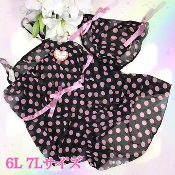 7L☆大水玉リボン ピンク キャミ&パンツ 大きい