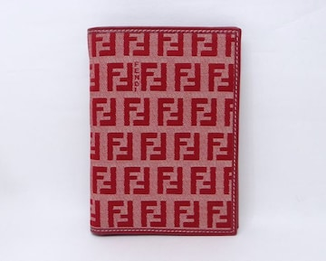 フェンディ ズッキーノ 二つ折り財布 札入れ レッド 美品【送料無料】