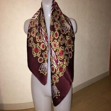 正規品 シャネル 秋冬 ジュエリータッセル柄 スカーフ ボルドー