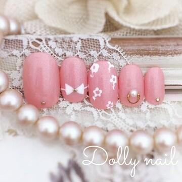 みぢょ!ショートオーバル上品ラメピンク小花柄ホワイトリボンネイル