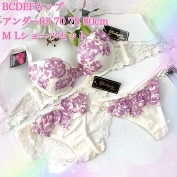 Tバック付き☆E75L バラ刺繍 アイボリー ブラ&ショーツ