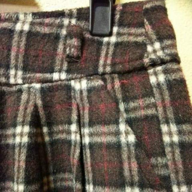 GLACIER未使用★ウール混茶系チェックあったかショーパンL < 女性ファッションの