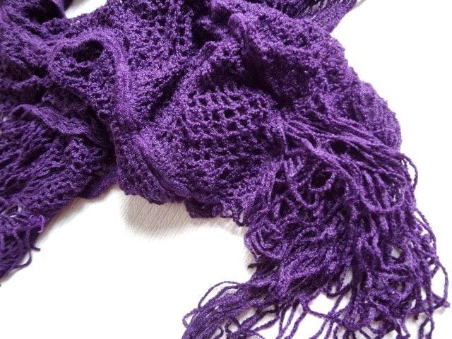 新品 マフラー ニット フリンジ レディース シャーリング 紫 < 女性ファッションの