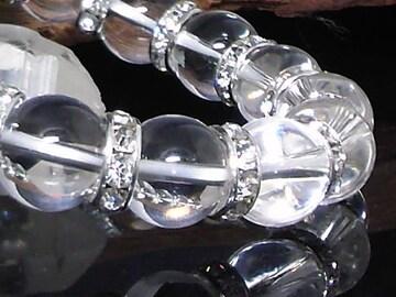 天然本水晶12ミリ§銀ロンデル数珠