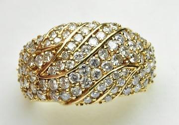 【鑑別】K18 ゴージャス 合計 1.508ct ダイヤモンドリング