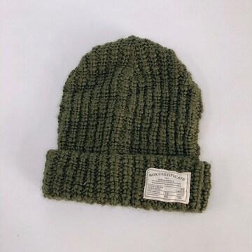 ◆ざっくり編みニット帽◆カーキF*定番ビーニー★1回着用のみ♪
