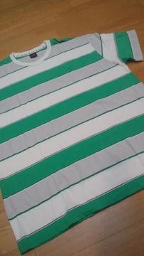 elementデザインボーダーTシャツ 緑白グレー ロゴ刺繍 サイズXXL 2XL