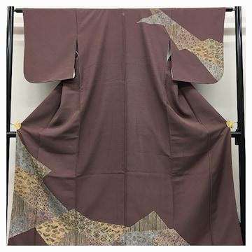 美品 訪問着 特選 正絹 裄62 身丈157 紋付 紫(葡萄鼠) 紋付