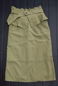 ベルト付きミディ丈タイトスカート