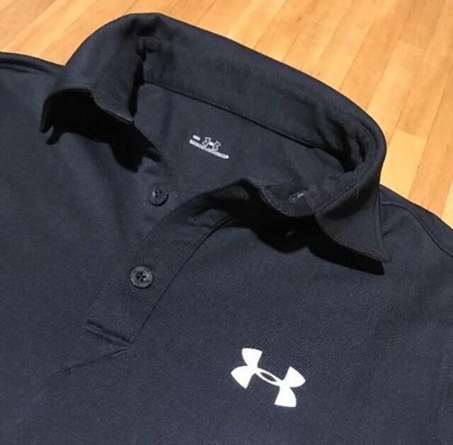 アンダーアーマー、ポロシャツブラック、タグなし新品送料込み < 男性ファッションの