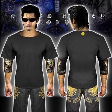 送料無料菊紋柄半袖Tシャツ 派手ヤクザ オラオラ系和柄上下服18001黒金-5L