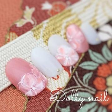 みぢょ!ショートオーバル和装シアーホワイト/パールピンクお花フラワー成人式ネイル