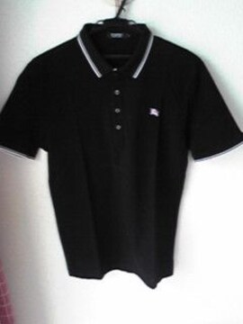 BURBERRY BLACK LABEL黒色×桃色ポロシャツ2ブラック×ピンク 即決